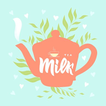 Template of package with hand draw teapot, text Milk tea, vapor, leaves, hearts blue background. Finished design for box, pack, business card of company, shop, logo. Vector. Hand lettering.