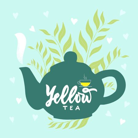 Template of package with hand draw teapot, text Yellow tea, vapor, leaves, hearts blue background. Finished design for box, pack, business card of company, shop, logo. Vector. Hand lettering.