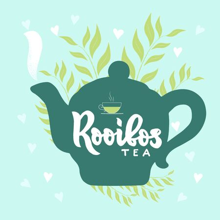 Template of package with hand draw teapot, text Rooibos tea, vapor, leaves, hearts blue background. Finished design for box, pack, business card of company, shop, logo. Vector. Hand lettering.