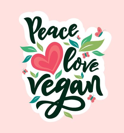 Peace love Vegan With green leaves, hearts, butterfly. Hand calligraphy lettering. Organic food tag, icon. As template of logo cafe, card, poster, banner, products packaging. Vector illustration 免版税图像 - 148231051