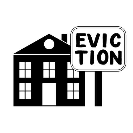 House with foreclosure label Eviction. Homes being repossessed by the bank. Vector illustration. Ilustrace