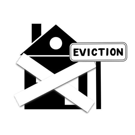 House with foreclosure label Eviction. Homes being repossessed by the bank. Vector illustration. On black background. Symbolically boarded up