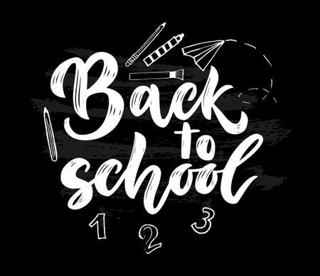 Back to school black background with illustration number, pencil, brush. Hand lettering script. Texture letters. Vector image. Template for cards, envelopes, covers, flyers sales, banner, web poster. 矢量图像