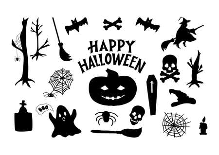 Set of Halloween icons. Pumpkin, witch, broom, grave, skull, bones, ghost, spider, coffin, bat, web, candle, try trees As poster home decor print decoration of party invitation greeting card