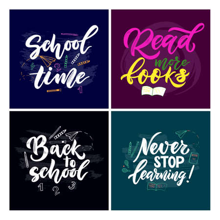 Set of motivational quotes with illustration number, pencil, brush. Concept Back to school, education. Hand lettering script. Vector.Template for cards, covers, flyers sales, banner, web poster.