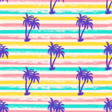Seamless texture striped pattern with blue palm trees. Summer background. Holiday backdrop. Vector illustration. For fabric textile, print for clothes, bag. Funny banner. 矢量图像