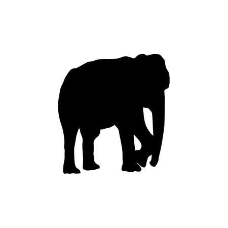 Elephant silhouettes black color on white background. Element for design. Vector illustration. 免版税图像 - 158130405