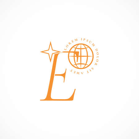 Logo of letter E with icon of planet, star. Vector illustration. Template of logo, sign, tag, label of business card of education project, international club. Space concept. Online training, meeting. 免版税图像 - 159293986