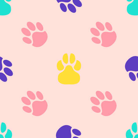 Seamless pattern of paw print. Trace of cat foot. Flat style. Vector illustration. For fabric textile, print for clothes, bag. Funny banner. Pink, violet, green, yellow color.