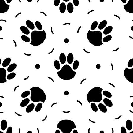 Seamless pattern of paw print. Trace of cat foot. Flat style. Vector illustration. For fabric textile, print for clothes, bag. Funny banner. Monochrome. 矢量图像