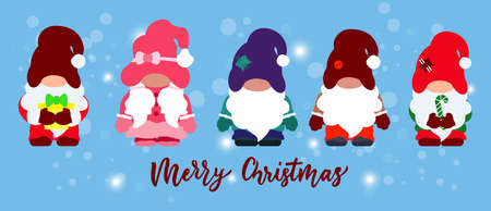 Set of Cute christmas gnomes with candy cane, gift box. On blue background with snowflakes. Flat illustration. Vector. Hand calligraphy lettering. For greeting card,t shirt, clothes print, poster.