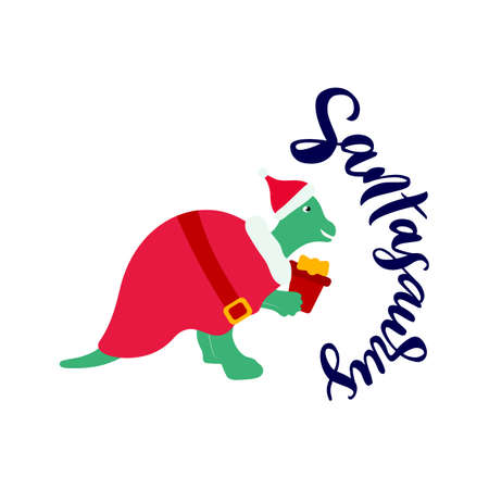 Santasaurus funny word. Pun. Hand calligraphy lettering. Illustration of dinosaur on costume of Santa Claus with box gift. Isolated illustration. For t shirt kids, baby print, christmas card. 矢量图像