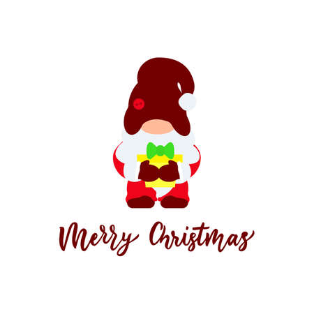 Cute christmas pink gnome gnome with box gift. Flat illustration. Vector. Hand calligraphy lettering. As template for greeting card,t shirt, clothes print, poster. Isolated