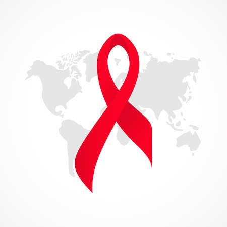 Symbol of realistic red ribbon on background of map. World AIDS day. 1 december. Healthcare concept. As template of card, banner, poster, print, flyer. Vector illustration 矢量图像