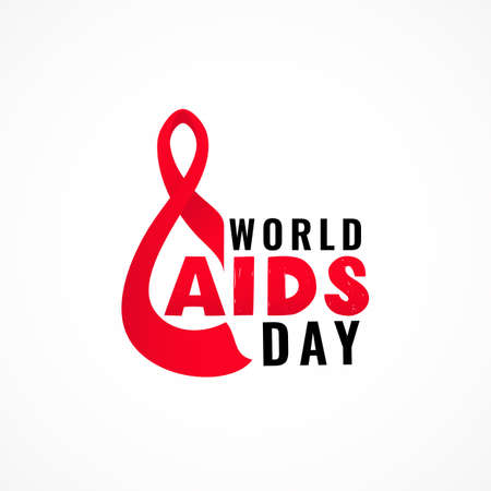 World AIDS day with symbol of realistic red ribbon. Hand texture lettering. 1 december. Healthcare concept. As template of card, banner, poster, print, flyer. Vector illustration