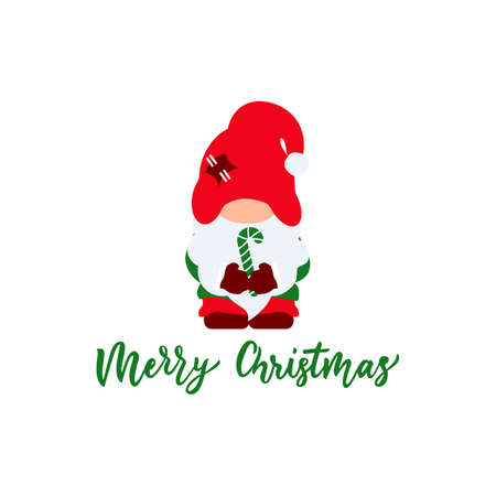 Cute christmas gnome with red hat, candy cane. Flat illustration. Vector. Hand calligraphy lettering. As template for greeting card,t shirt, clothes print, poster. Isolated 矢量图像