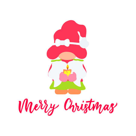 Cute christmas pink girl gnome with candle.Flat illustration. Vector. Hand calligraphy lettering. As template for greeting card,t shirt, clothes print, poster. Isolated