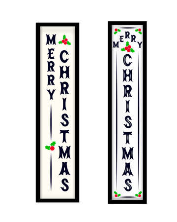 Merry Christmas vertical porch sign. Two options. Home decor. Vector illustration. As template for flyer, invitation, card.