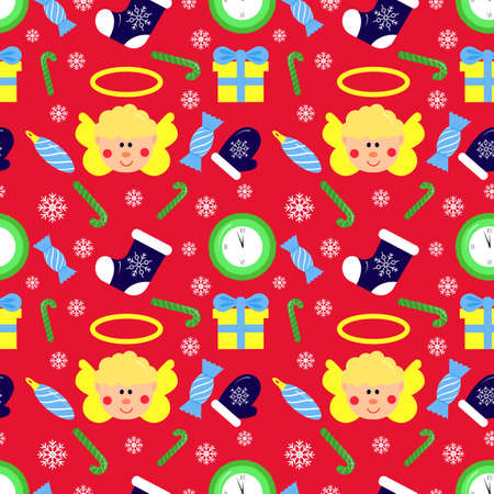 Christmas seamless pattern, on red background. Angel, sock, toy new year tree, snowflake, candy. Winter holidays concept. For wallpaper, scrapbooking, clothes, fabric textile Vector backdrop 矢量图像
