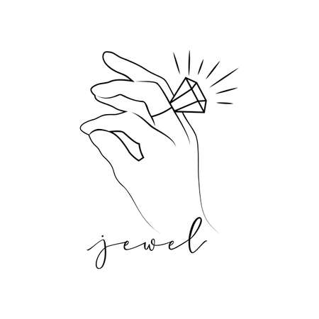 Logo jewel, silhouette woman hand with diamond ring. Vector. Line style. As template for print of t shirt, clothes, tattoo, logotype of jewelry store, beauty shop, package product. Calligraphic font.
