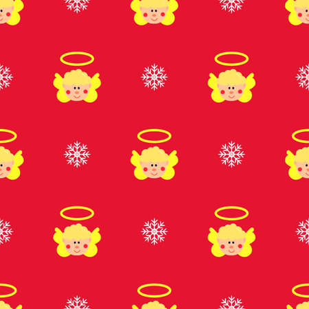 Christmas seamless pattern, on red background. Yellow Angel, white snowflake. Winter holidays concept. For wallpaper, scrapbooking, clothes, fabric, textile Vector backdrop