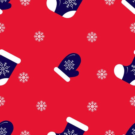 Christmas seamless pattern, on red background. Felt boot, sock, snowflake, mitten. Winter holidays concept. For wallpaper, scrapbooking, clothes fabric textile Vector backdrop