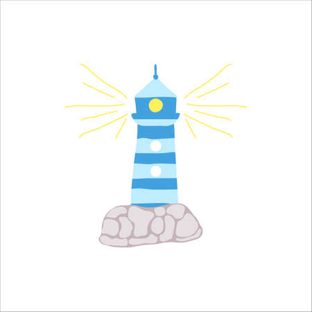 Icon of hand draw blue ighthouse with stones and rays. Isolated vector illustration. As print, emblem for , for graphic design. Doodle style. 矢量图像