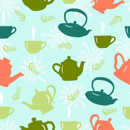 Seamless pattern with teapot, teacup,green leaves. Kitchen background. Vector design for fabric, clothes print, towel, textile, wallpapers, surface textures, package product of tea scrapbooking 矢量图像