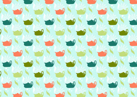 Seamless pattern with teapot, green leaves. Kitchen background. Vector design for fabric, clothes print, towel, textile, wallpapers, surface textures, package product of tea scrapbooking 免版税图像