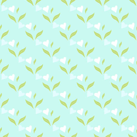Seamless pattern with green leaves and heart. Nature concept. Background for your design wallpapers, web page, surface textures, package product of tea, scrapbooking, clothes, fabric textile. Vector