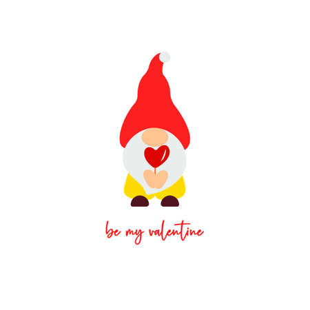 Cute Valentine s Day gnome with candy cane heart. Vector illustration. Be my valentine script. Funny quote. Template for greeting card, label, tag, print for clothes, mug, pillow, crafting. Cut file Illusztráció