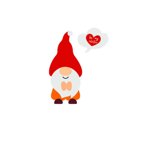 Cute Valentine s Day gnome with cloud, heart. Vector illustration. Be my valentine script. Funny quote. Template for greeting card, label, tag, print for clothes, mug, pillow, crafting. Cut file