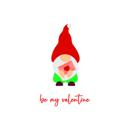 Cute Valentine s Day gnome with letter, heart. Vector illustration. Be my valentine script. Funny quote. Template for greeting card, label, tag, print for clothes, mug, pillow, crafting. Cut file