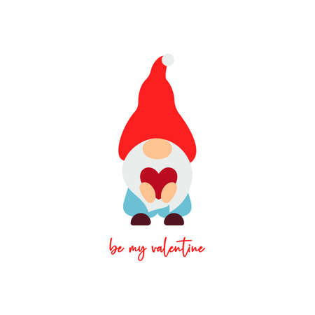 Cute Valentine s Day gnome with heart. Vector illustration. Be my valentine script. Funny quote. Template for greeting card, label, tag, print for clothes, mug, pillow, crafting. Cut file
