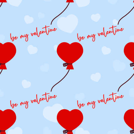 Seamless pattern with balloon, heart on blue. Be my valentine. Valentines day background. Love concept. For wallpaper, gift box, scrapbooking, clothes fabric textile Vector cute backdrop 矢量图像