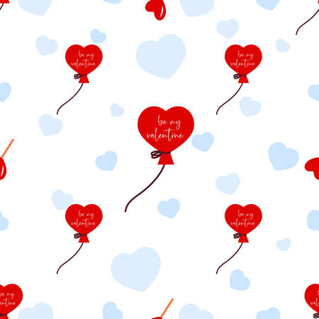 Seamless pattern with balloon, heart. Be my valentine. Valentines day background. Love concept. For wallpaper, gift box, scrapbooking, clothes fabric textile Vector cute backdrop 矢量图像