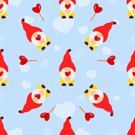 Seamless pattern with gnomes,candy cane, heart. Valentines day background. Love concept. For wallpaper, gift box, scrapbooking, clothes fabric textile Vector cute backdrop 矢量图像