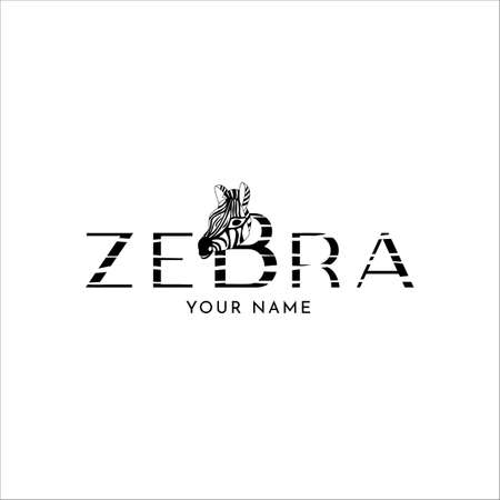 Zebra logo design with head of wild animal. Black and withe stripes. Vector illustration. Texture letters. Logotype for store, shop, other your project