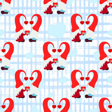 Seamless pattern with gnome couple, heart, texture square stripes on white. Love background. Valentines day holiday concept. For scrapbooking, wallpaper, paper for gift, print fabric Vector backdrop 矢量图像