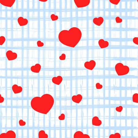 Seamless pattern with red heart, texture square of blue stripes on white. Valentine s day background. Love concept. For wallpaper, gift box, scrapbooking, clothes fabric textile Vector backdrop. 矢量图像