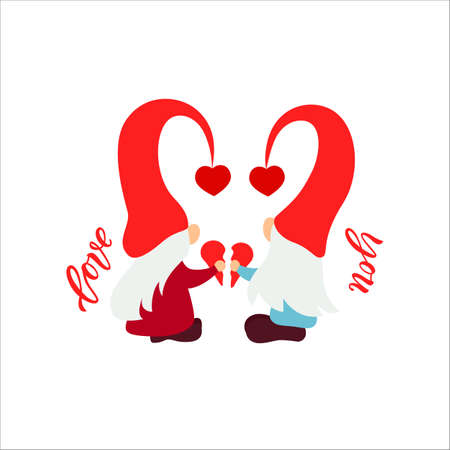 Cute Valentine s Day couple gnome with heart. Vector illustration. Love you script. Motivational quote. Template for greeting card, label, tag, print for clothes, mug, pillow, crafting. Cut file