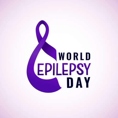 World epilepsy day banner with violet lavender ribbon solidarity symbol of disease. Vector background. Health care concept. For card, background, flyer, print. Hand lettering. Typographic poster.
