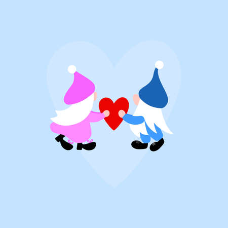 Valentines gnome couple with heart. Girl and boy scandinavian elf. Vector clip art Template for greeting card, label, tag, print for clothes, sleepwear, mug, pillow, crafting, sticker.
