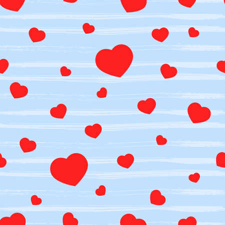 Valentines heart Seamless pattern with red shape, texture stripes on blue. Holiday background. Love concept. For crafting, wallpaper, gift box, scrapbooking, clothes fabric textile Vector backdrop.