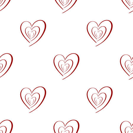 Valentines heart seamless pattern. Vector holiday backdrop. Red color on white. For wallpaper, wrapping, packaging product, clothes t shirt print. Scrapbooking, crafting.