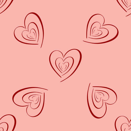 Heart seamless pattern on pink background. Vector holiday backdrop. Valentine s day concept. For wallpaper, wrapping, packaging product, clothes t shirt print. Scrapbooking, crafting.