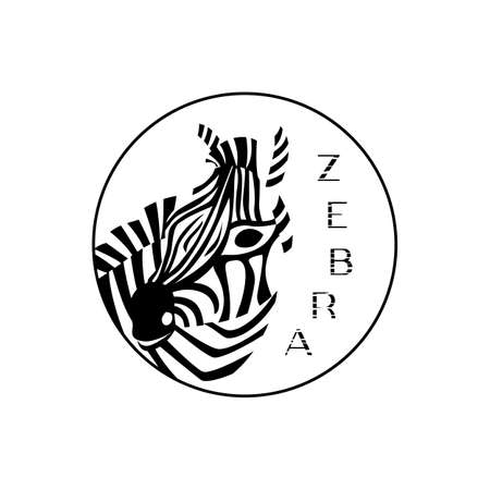 Logo design Zebra in circle for clothes store, shop. Black and withe stripes. Vector illustration. Texture letters. Flat style. Head of African animal logotype.