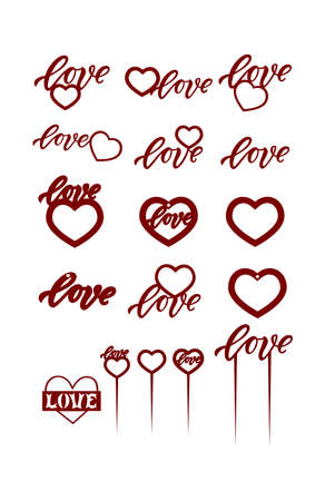 Love with heart. Hand lettering word. Template for photo frame, cake toppers, decor of gift, home, bouquet, key ring. Ready to cut with a laser cutting machine. Vector.
