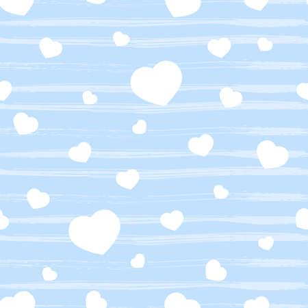 Seamless pattern with blue heart, texture stripes on white. Valentine s day background. Love concept. For wallpaper, gift box, scrapbooking, clothes fabric textile Vector backdrop. 矢量图像