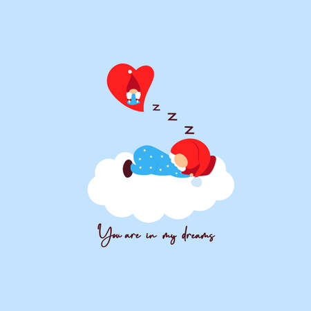 Enamored gnome sleep on cloud dreaming about girl. Red heart. You are in my dreams. On blue background. Vector illustration. Valentines day card. Template of t shirt print, greeting card, valentine 矢量图像